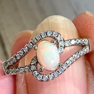 Jewelry - Ethiopian Opal Silver Ring W/Cubic Zirconia